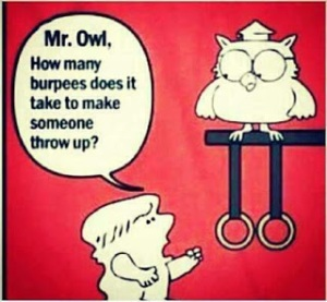 Mr. Owl, how many burpees does it take to make someone throw up